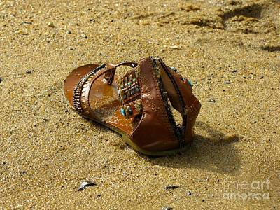Abandoned Woman's Sandal On Sandy Point Beach Art Print by Ben Schumin