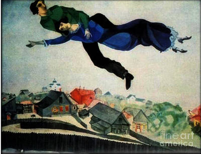 Above The Town Art Print by Chagall