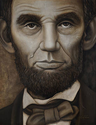 Art Print featuring the painting Abraham Lincoln On Wood by Cindy Anderson