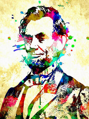 Statesman Mixed Media - Abraham Lincoln Grunge by Daniel Janda