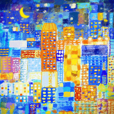 Bright Colors Painting - Abstract City by Setsiri Silapasuwanchai