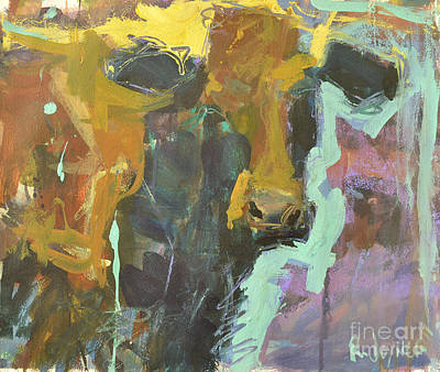 Print featuring the painting Abstract Cow Painting by Robert Joyner