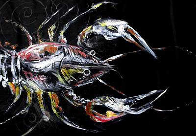 Louisiana Crawfish Painting - Abstract Crawfish by J Vincent Scarpace