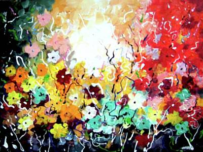 Painting - Abstract Flower Painting by Samiran Sarkar
