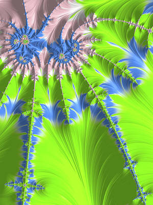 Royalty-Free and Rights-Managed Images - Abstract Fractal Art Greenery Rose Quartz Serenity by Matthias Hauser