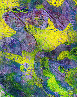 Printmaking Mixed Media - Abstract In Purple And Green by Laura L Leatherwood