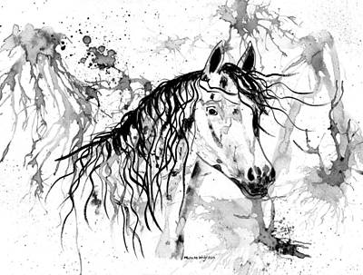 Arabian Mixed Media - Abstract Ink - Black And White Arabian Horse by Michelle Wrighton
