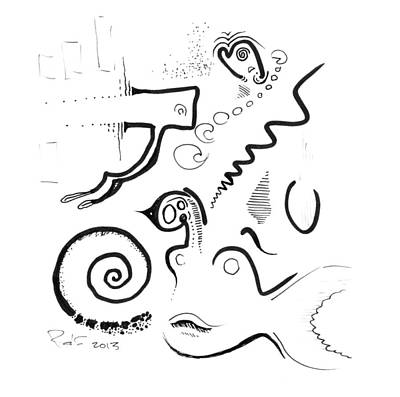 Drawing - Abstract Ink Sketch by Ralf Schulze