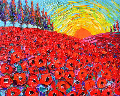 Sun Rays Painting - Abstract Landscape Tuscany Poppy Hills At Sunset by Ana Maria Edulescu