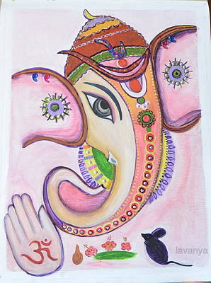 Ganapathi Painting - Abstract by Lavanya Ramashetty