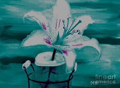 Shower Digital Art - Abstract Lily by Marsha Heiken