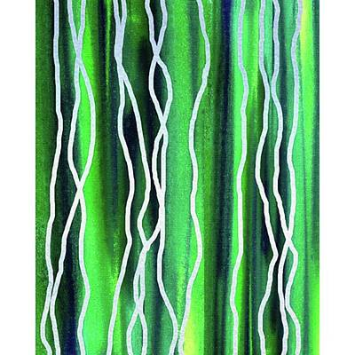 Abstract Lines On Green Art Print