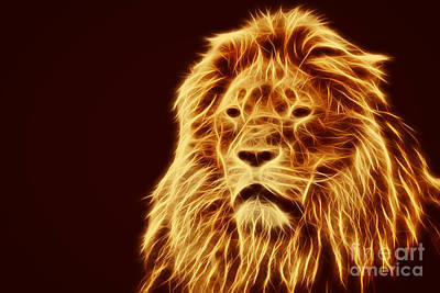 Leader Photograph - Abstract Lion Portrait by Michal Bednarek