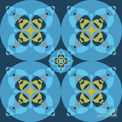 Modernart Digital Art - Abstract Mandala Cyan, Dark Blue And Yellow Pattern For Home Decoration by Pablo Franchi