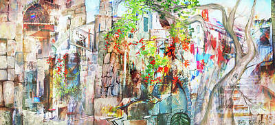 Mixed Media - Abstract Old Jaffa by Betty Rubinstein