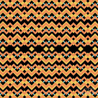 Santa Monica Digital Art - Abstract Orange, Black And Cyan Pattern For Home Decoration by Pablo Franchi