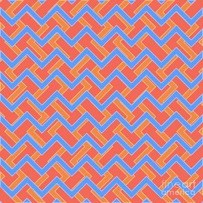 Modernart Digital Art - Abstract Orange, Red And Cyan Pattern For Home Decoration by Pablo Franchi
