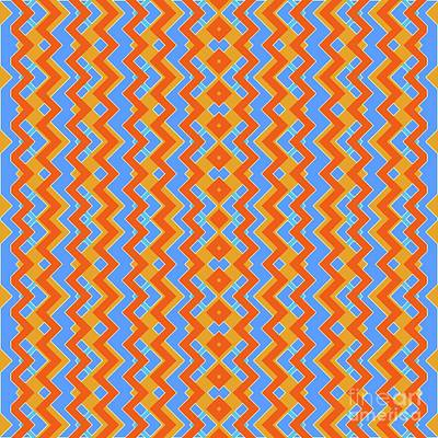 Santa Monica Digital Art - Abstract Orange, White And Cyan Pattern For Home Decoration by Pablo Franchi