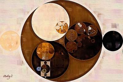Round Digital Art - Abstract Painting - Sepia by Vitaliy Gladkiy