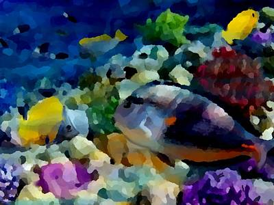 Hawaiian Fish Digital Art - Abstract Reef Fish by Stephen Jorgensen