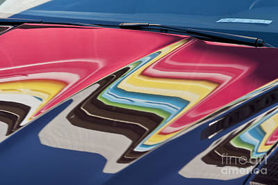 Photograph - Abstract Reflection On Car Hood by Jim Corwin