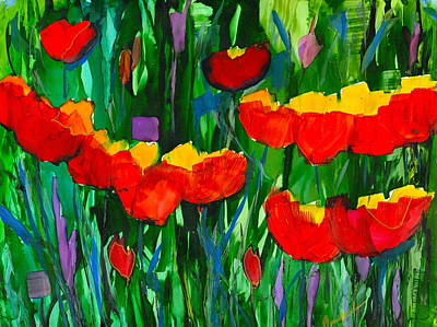 Wall Art - Painting - Abstract Tulip Garden by Alexis Bonavitacola