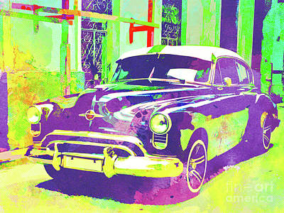 Muscle Mixed Media - Abstract Watercolor - Havana Cuba Classic Car I by Chris Andruskiewicz