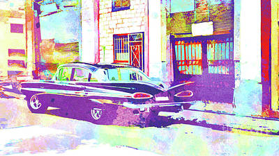 Muscle Mixed Media - Abstract Watercolor - Havana Cuba Classic Car II by Chris Andruskiewicz