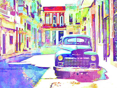 Cuban Mixed Media - Abstract Watercolor - Havana Cuba Classic Car IIi by Chris Andruskiewicz