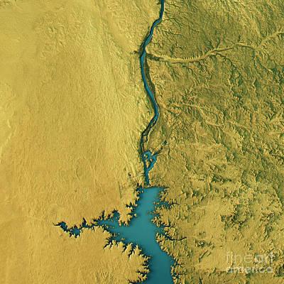 Aswan Dam Topographic Map Natural Color Top View Art Print by Frank Ramspott