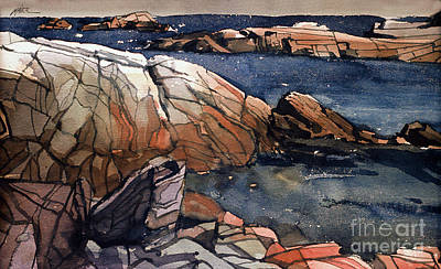 Maine Beach Painting - Acadia Rocks by Donald Maier