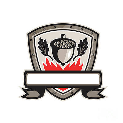 Acorn Digital Art - Acorn Oak Leaf Flames Shield Retro by Aloysius Patrimonio