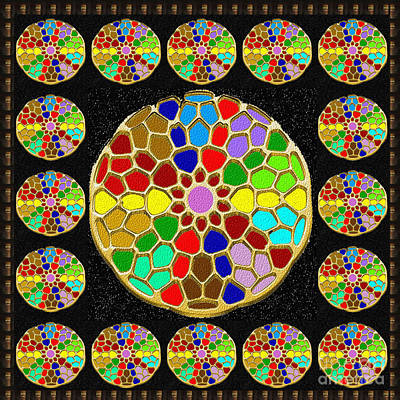 Painting - Acrylic Painted Round Colorful Jewel Patterns By Navinjoshi At Fineartamerica.com   Also Available O by Navin Joshi