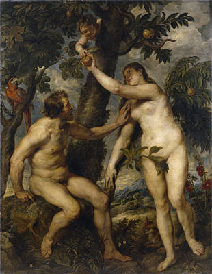 Adam And Eve Art Print by Peter Paul Rubens