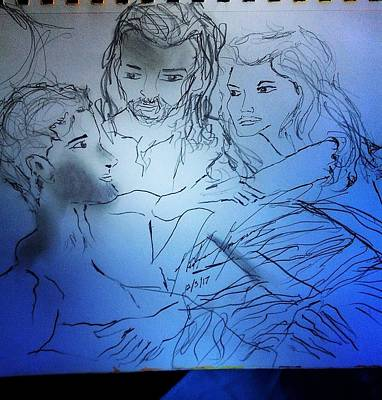Drawing - Adam Andeve The Creation Story by Love Art Wonders By God