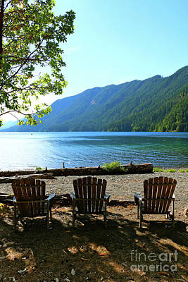 Photograph - Adirondack Chairs At Lake Cresent by Christiane Schulze Art And Photography