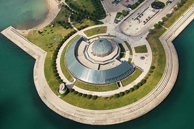Outside Photograph - Adler Planetarium Aerial by Adam Romanowicz