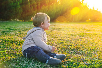 Photograph - Adorable Baby Playing Outdoors by Anna Om