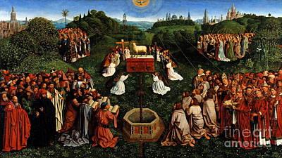 Altar Wall Art - Painting - Adoration Of The Mystic Lamb by Hubert Eyck and Jan van Eyck