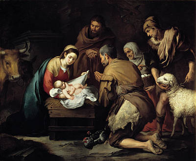 Mother Of Jesus Drawing - Adoration Of The Shepherds by Celestial Images
