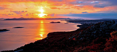 Photograph - Adriatic Town Of Pakostane Aerial Sunset View by Brch Photography