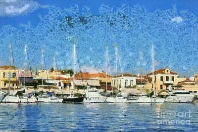 Sail Painting - Aegina Port by George Atsametakis