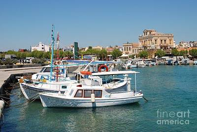 Photograph - Aegina Town Harbour In Greece by David Fowler