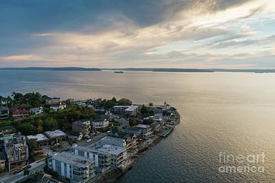 Photograph - Aerial Alki Point Sunset by Mike Reid