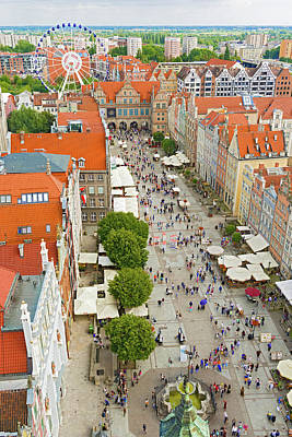 Photograph - Aerial View At The Old City In Gdansk, Poland by Marek Poplawski
