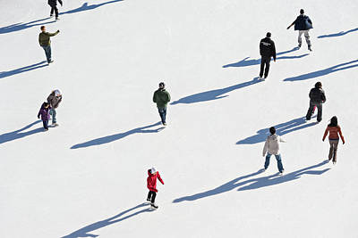 Aerial View Of Ice Skating Art Print