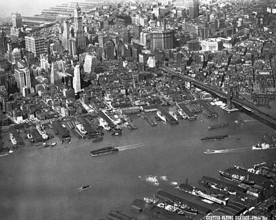 Aerial View Of Lower Manhattan Art Print