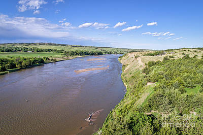 Photograph - aerial view of Niobrara River in Nebraska Sand Hills by Marek Uliasz
