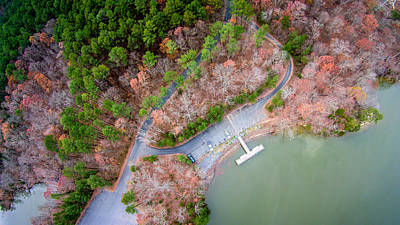 Thomas Kinkade Royalty Free Images - Aerial View Over Lake Wylie And Boat Marina Royalty-Free Image by Alex Grichenko