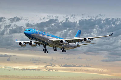 Mixed Media - Aerolineas Argentinas Airbus A340-313 by Smart Aviation